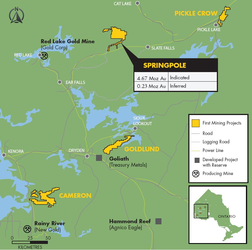 Springpole map First Mining Finance Corp